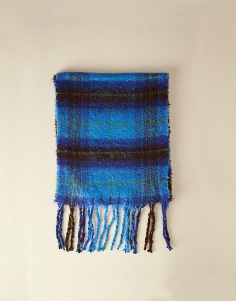 thick blue plaid scarf