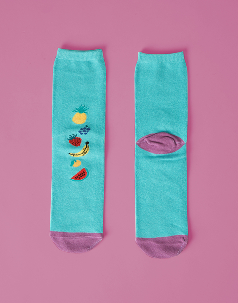calcetín tropical frutas mujer