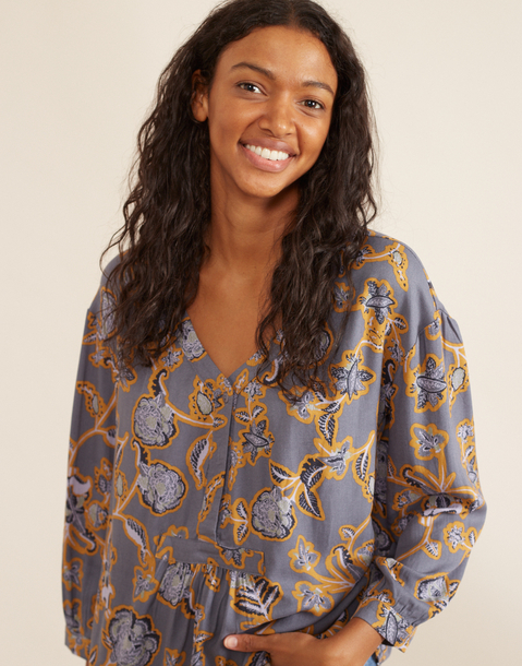 long sleeve flower printed shirt