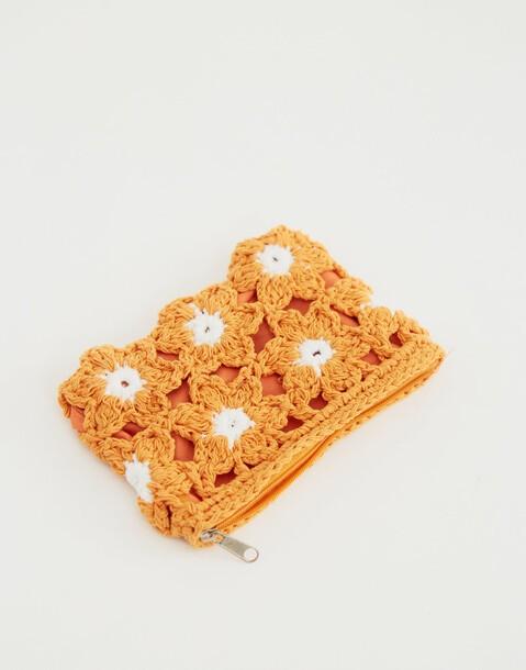 monedero crochet flores