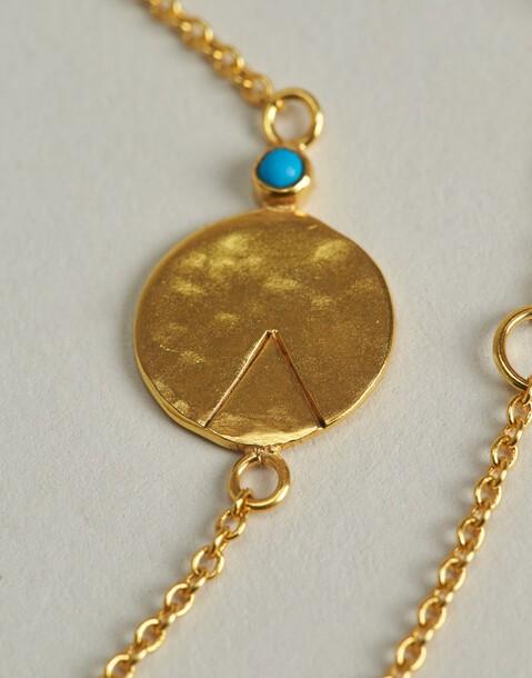 pulsera medalla turquesa baño de oro