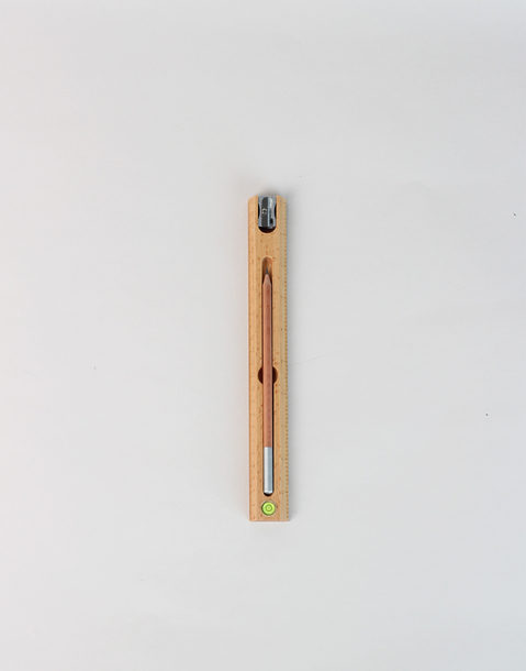 ruler with pencil and sharpener