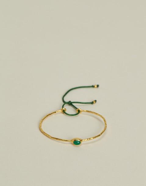 bracelet ajustable fil pierre doré