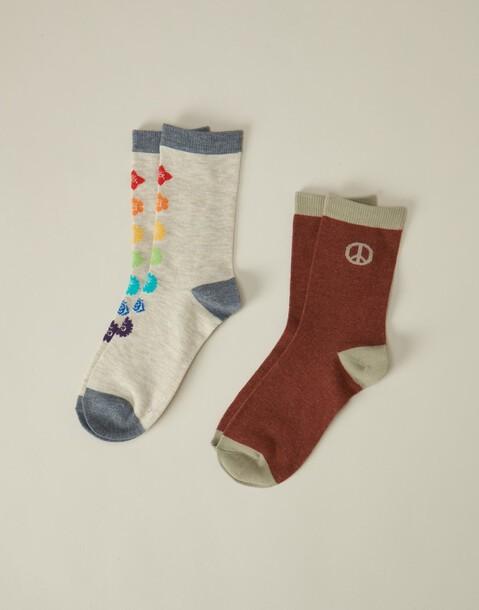 lot 2 paires chaussettes chakras & paix
