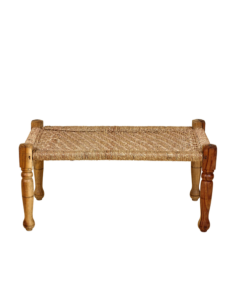 wooden and jute bench