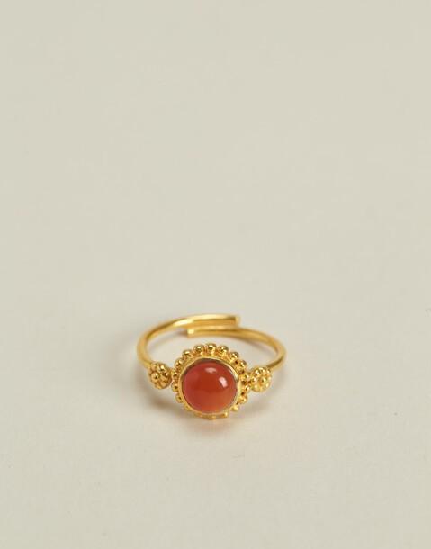 anello fiore pietra placcato in oro