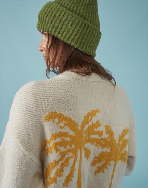 palm trees knit cardigan