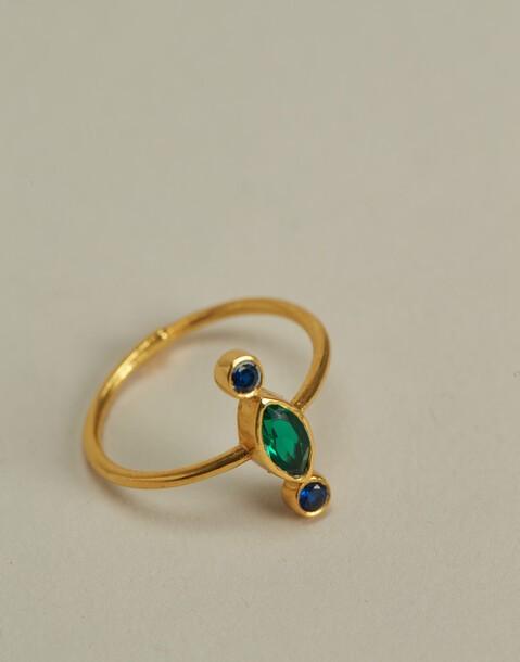 anillo circonita baño de oro