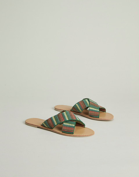 crossed stripes jacquard sandal