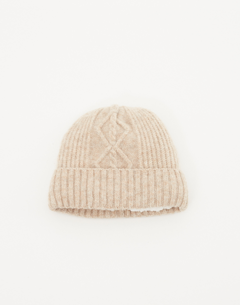 recycled cable knit beanie