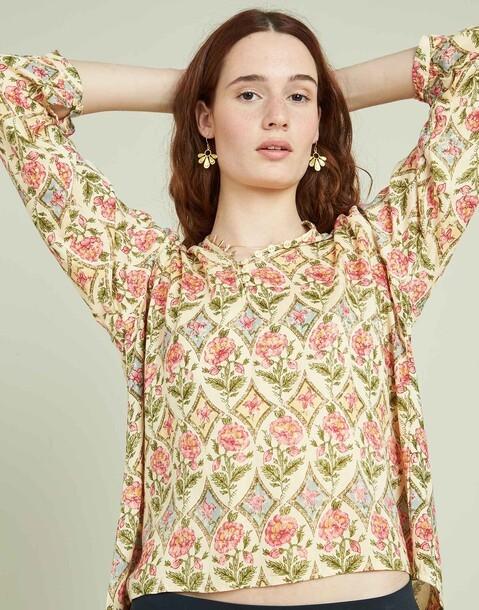 camisa estampada flor barroca