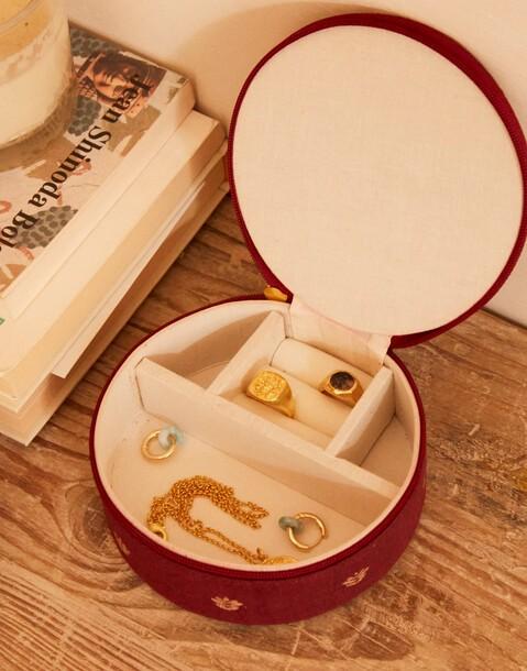 round cotton jewellery box