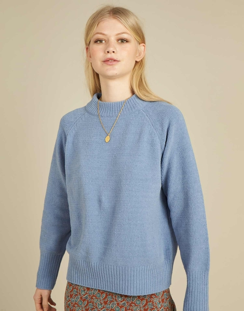 chenille round neck ranglan sweater