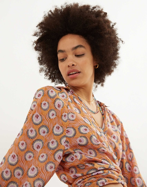 camicia incrociata pavone reale