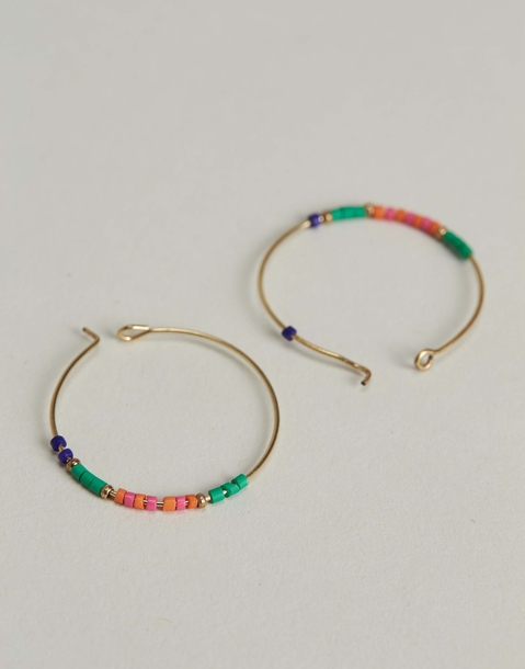 beads hoop earrings