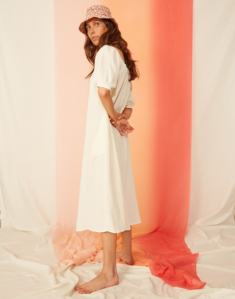 vestido midi algodón doble