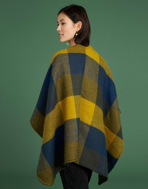 checkered reversible poncho