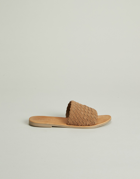 braided flat leather sandal