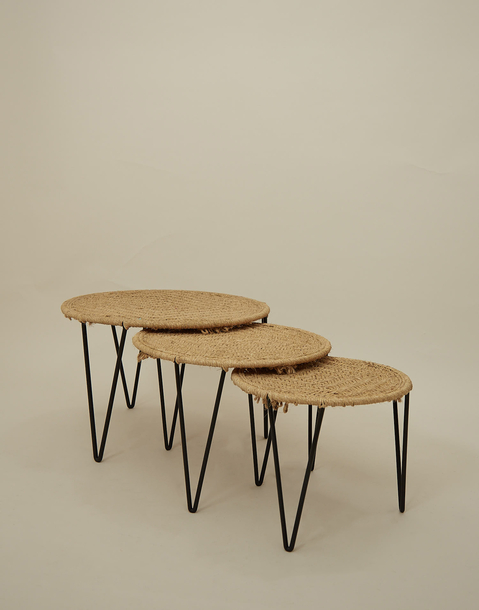 medium bamboo table with metal legs