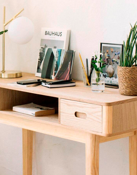 mesa consola de dos cajones