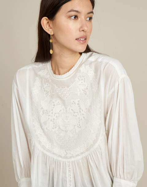 lace embroidered shirt