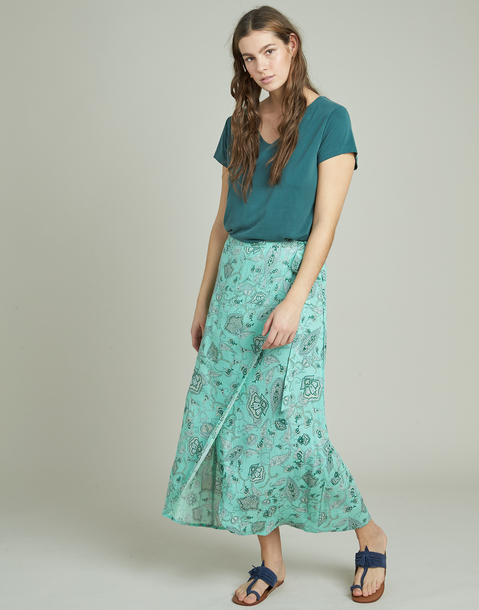 flowered pareo long skirt