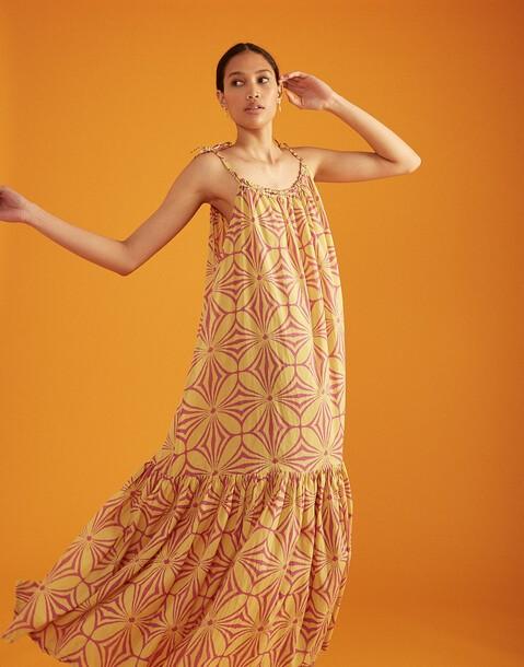 vestido largo print abstracto