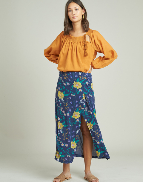 long flowered skirt