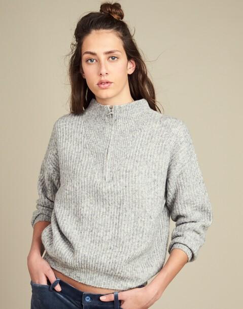 rib knit sweater with zipper