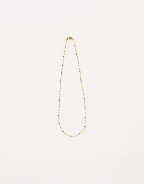 collier chaîne et petites pierres doré