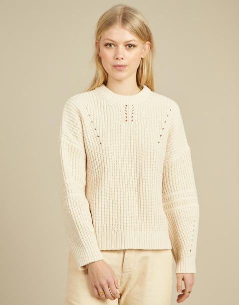 sleeve trim jacquard sweater