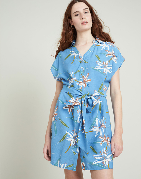 flowered shirt dress