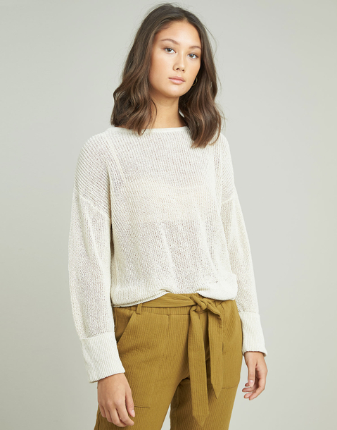 openwork and turn-up cuffs sweater