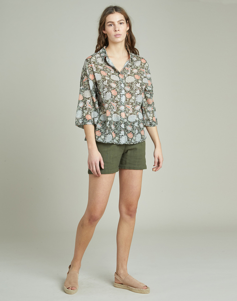 floral print 3/4 shirt
