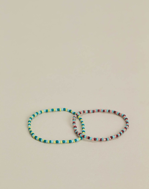 set 2 bracciali grani multicolor