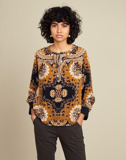 long sleeve retro blouse