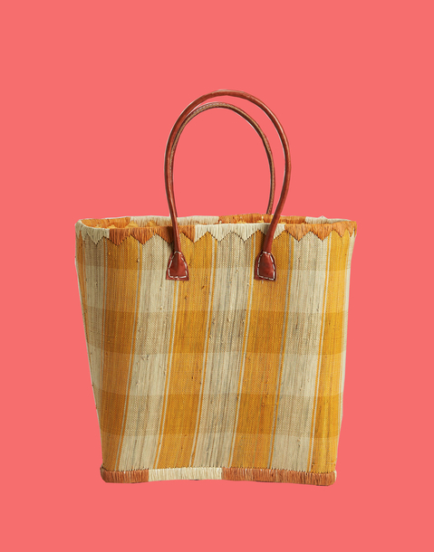 plaid rigid basket bag