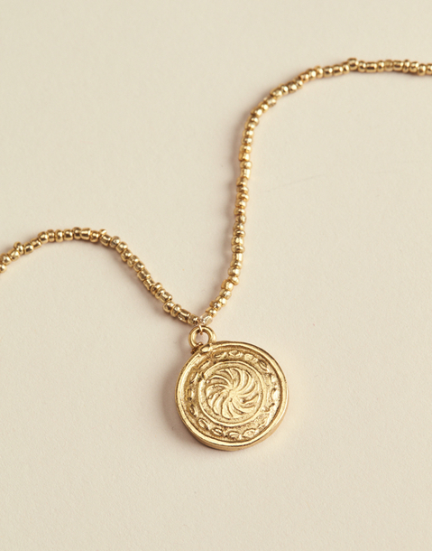 golden beads & coin necklace