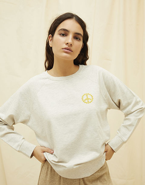peace sign embroidery organic sweatshirt