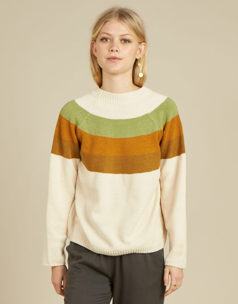 pull chenille rayures multicolores