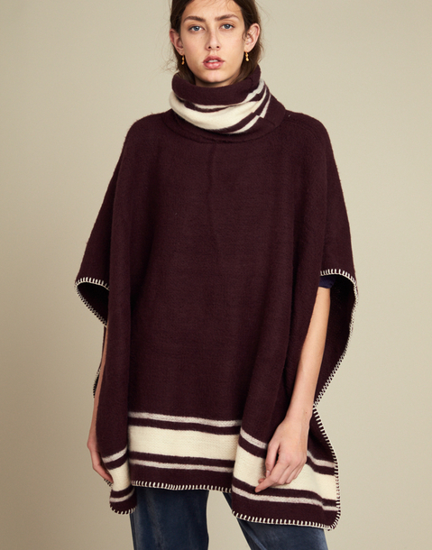 embroidery striped poncho