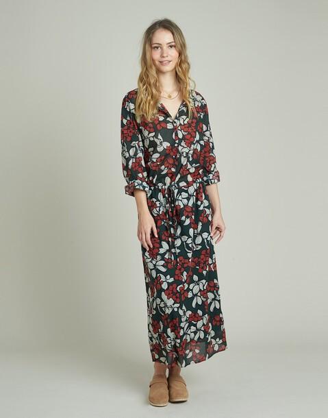 vestido largo print flores