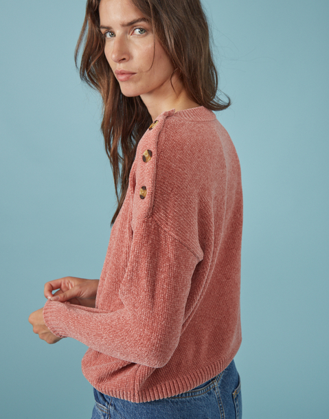 buttons chenille sweater