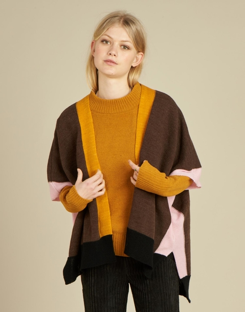 color bordered poncho