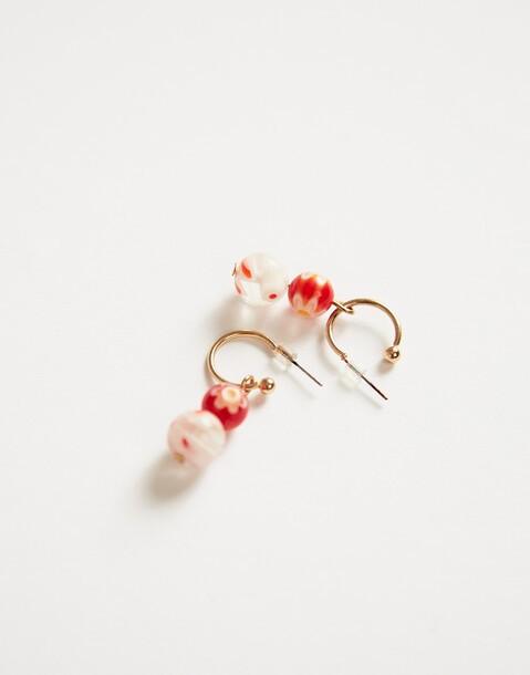 painted beads earrings