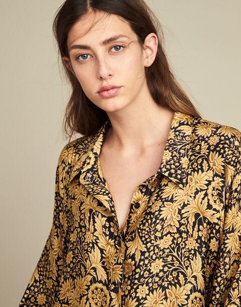 camisa manga abullonada tacto seda