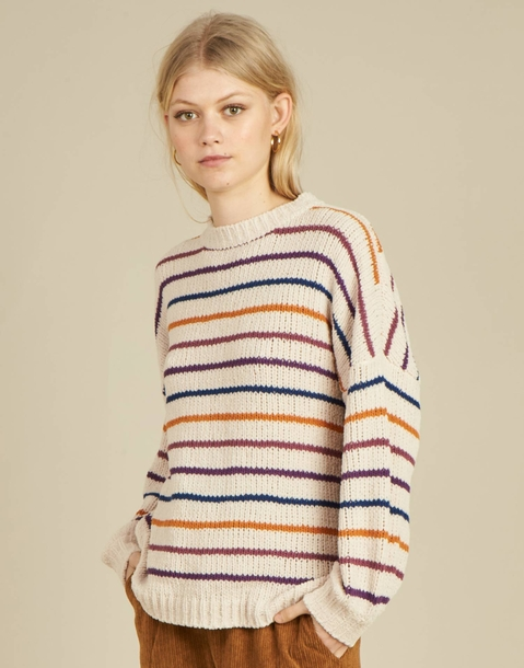 pull chenille rayures fines multicolores