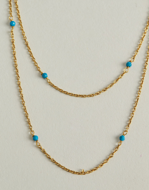 gilded double chain turquoise necklace