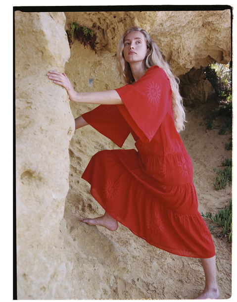 sun short sleeve maxi dress