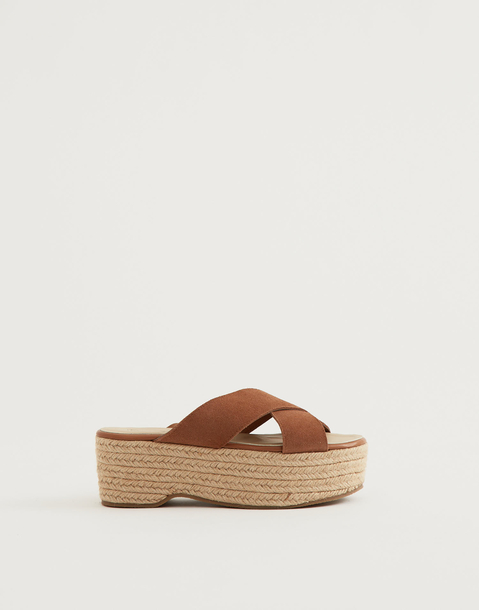 leather and jute wedge